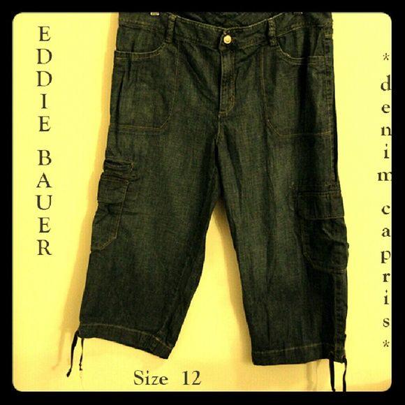 "EDDIE BAUER 7-pocket denim capris 7-pocket blue denim capris with drawstring ties at leg hems.  100% Cotton.  Measurements: Inseam 19.5"" / Waist 36"" / Size 12.   In EUC; from SFPF home.  ***THANK U FOR VISITING MY CLOSET*** Eddie Bauer Jeans Ankle & Cropped"