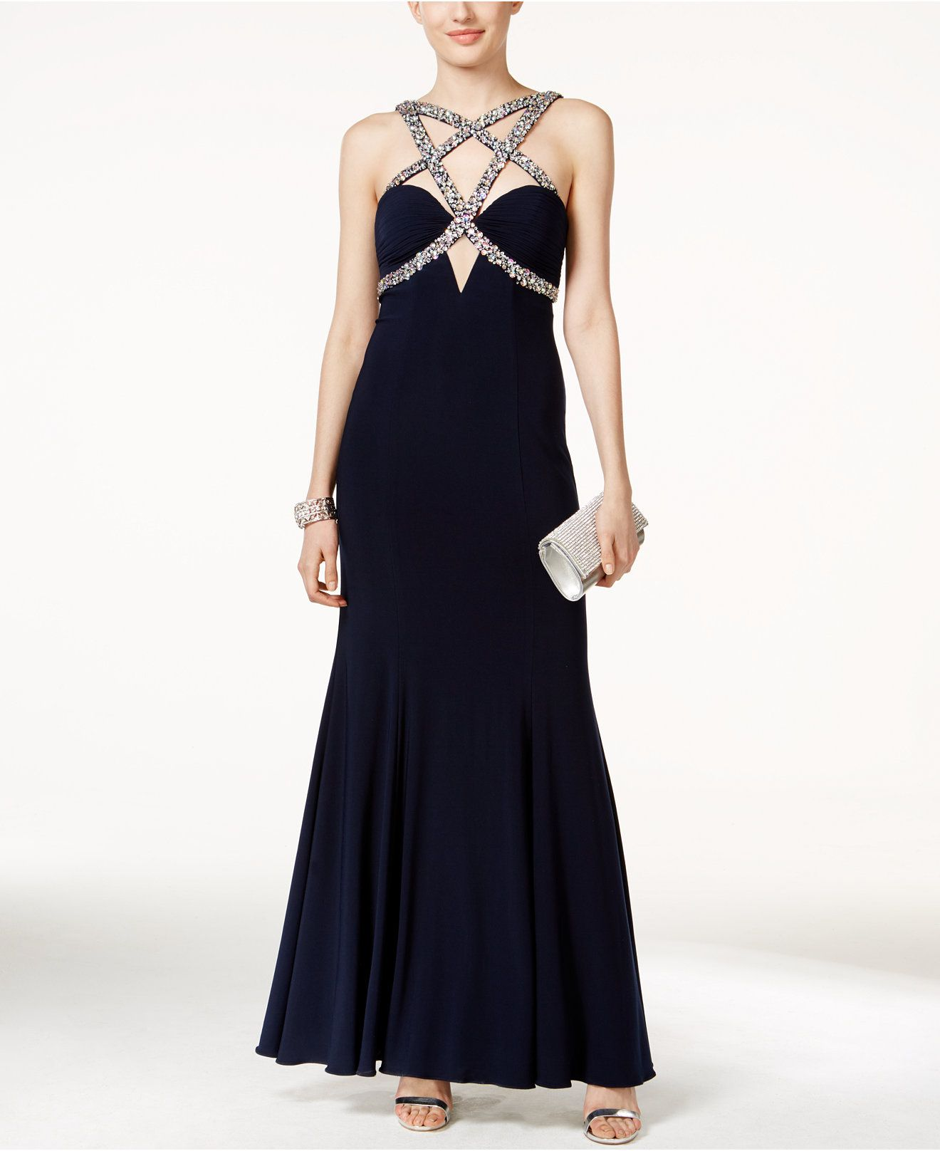 Xscape fauxgem encrusted crisscrossfront gown juniors dresses