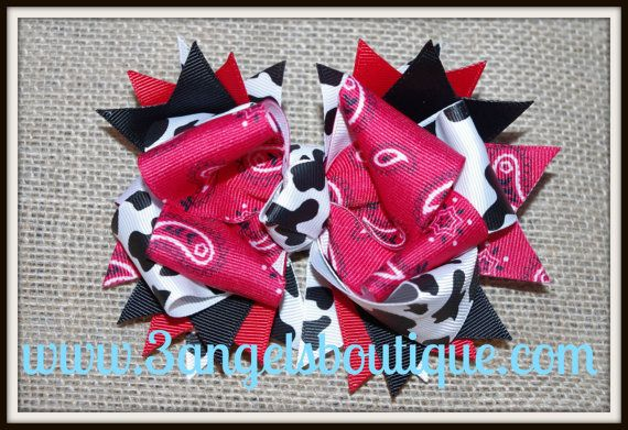 Western theme layered boutique bow by 3angelsboutique on Etsy, $7.00
