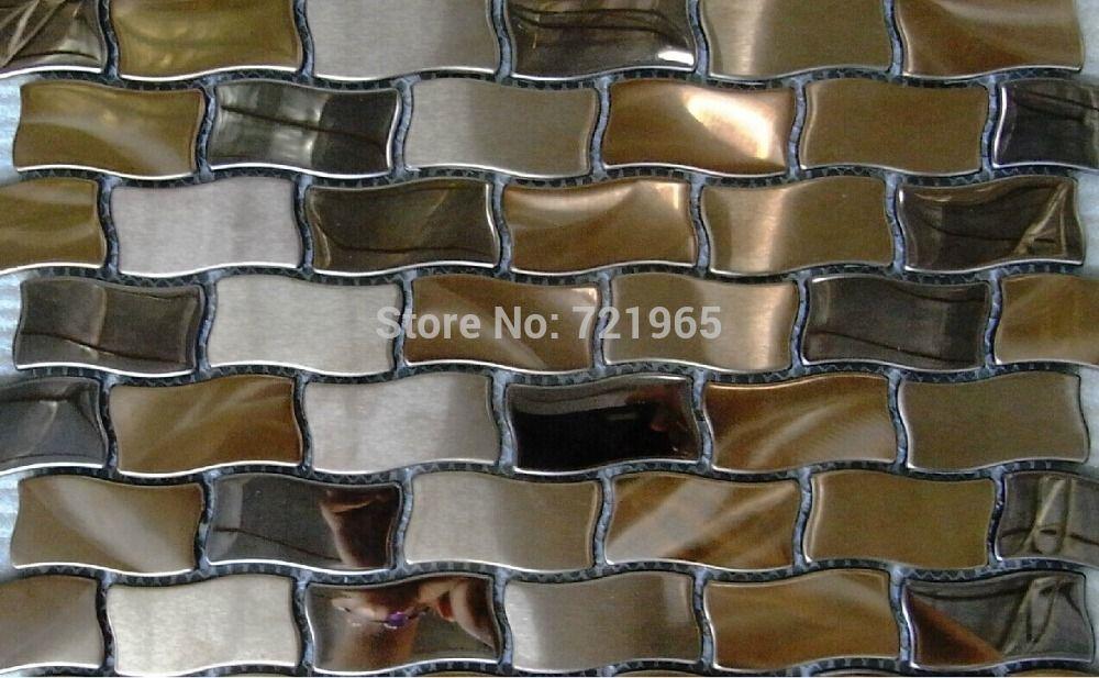 3D metal mosaic wall tiles backsplash SMMT065 stainless steel ...