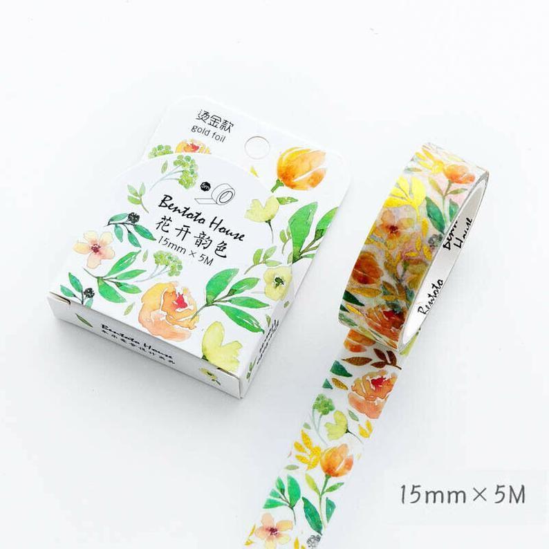 Lettering Washi Tape Green Washi Tape Beautiful Day Gold Foil Tape Washi Tape 15mm X 5m