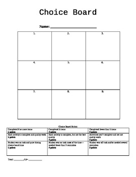 Choice Board Template With Rubric  Rubrics Art Rubric And Activities