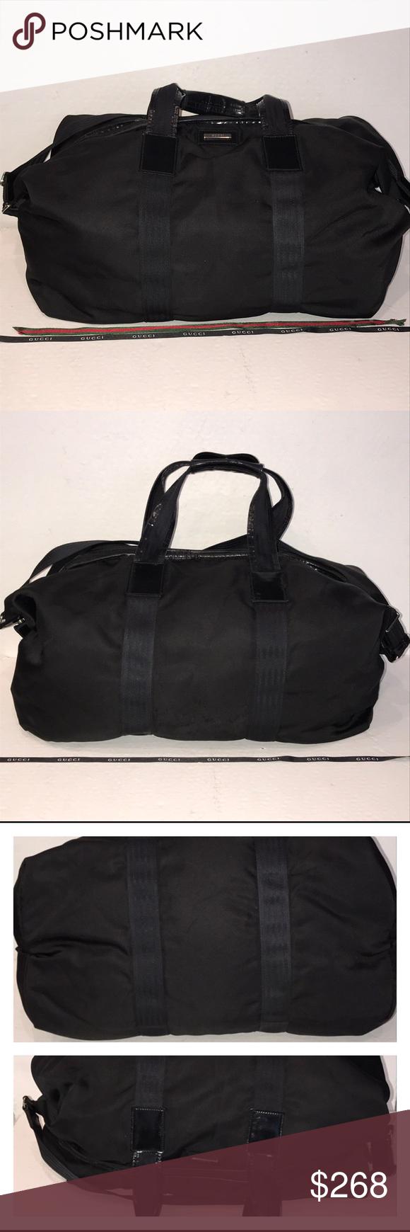 9db629c79406 Authentic Gucci Vintage Black Nylon Duffel Bag 👀 Pre-owned authentic Gucci  nylon duffel bag