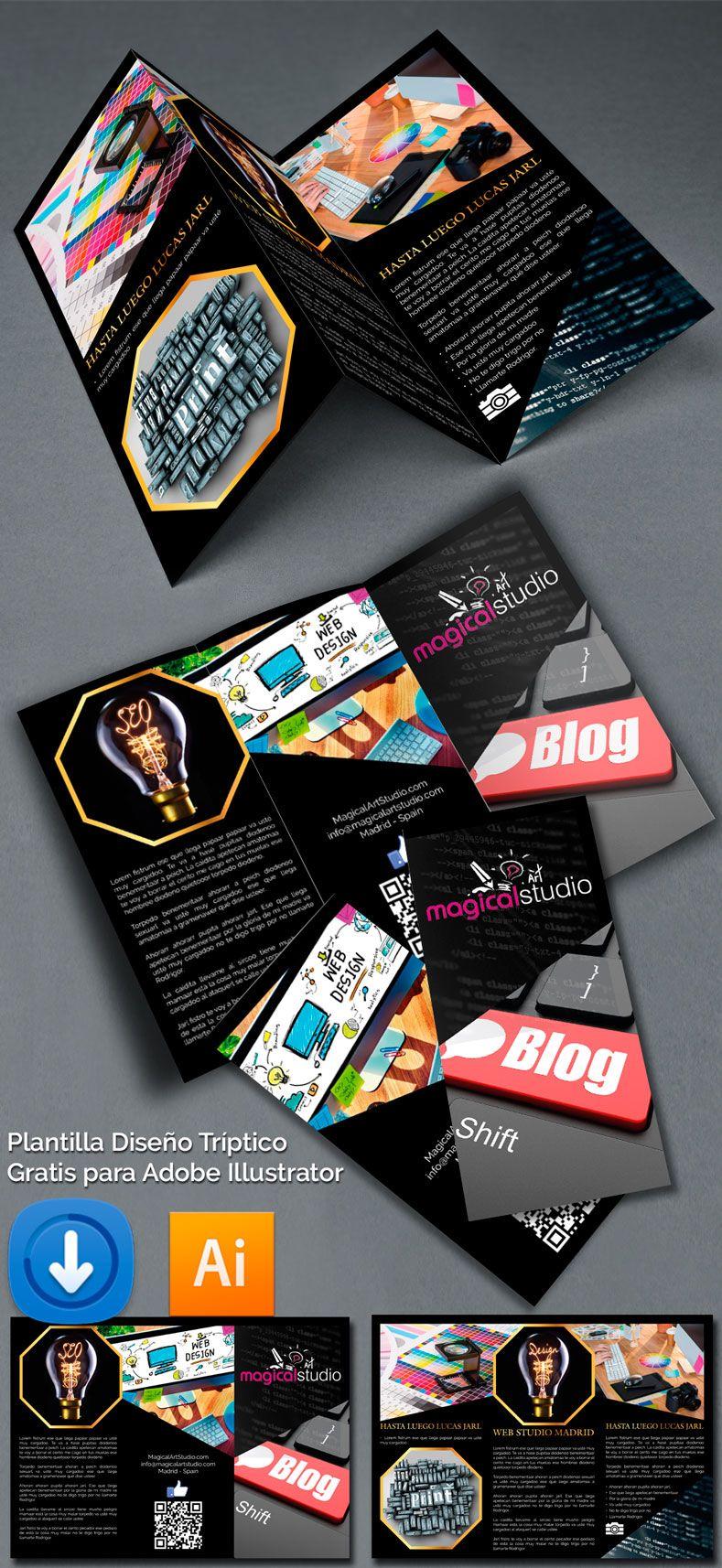 Descarga Gratis Plantilla Editable Diseño Tríptico en Illustrator ...