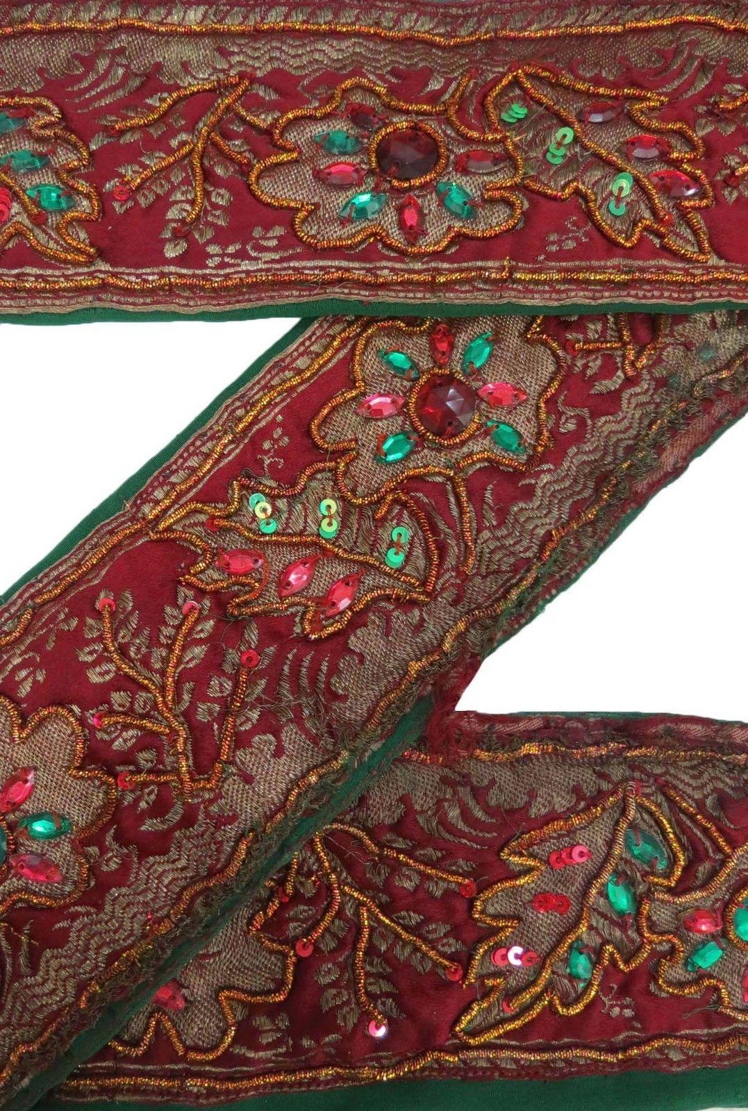 Lace, Crochet & Doilies Good Vintage Sari Border Antique Hand Embroidered Indian Trim Ribbon Peach Lace Trims