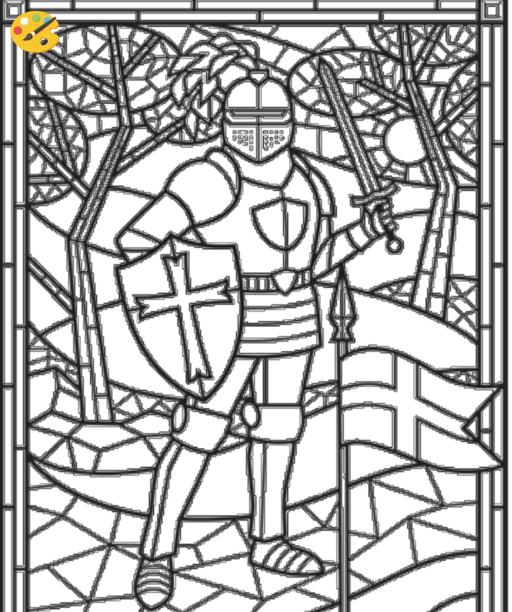 stained glass knight coloring sheet