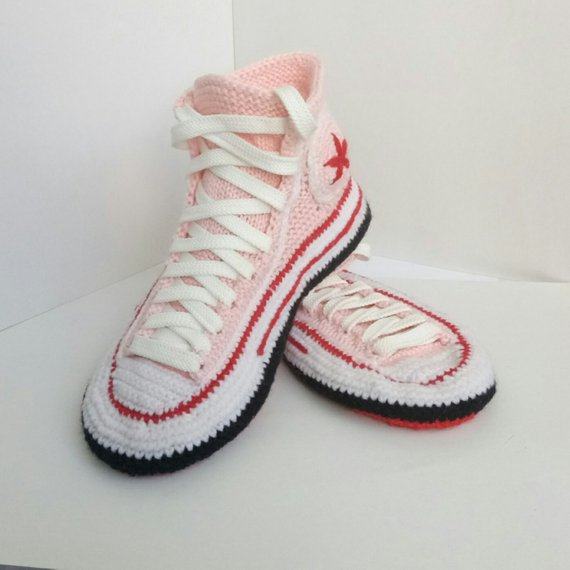 ad0a171a4f685f Knitted Converse slippers Crochet Converse shoe Socks with sole House  knitted slippers Knitted gift