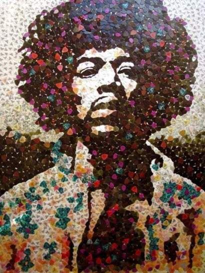 Jimi Hendrix mosaic made out of guitar picks!