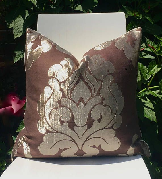 Modern Damask Pillow Cover Gold And Brown Luxurious Contemporary Throw Pillow Home Accents Damask Throw Pillows Damask Pillows Floral Pillows
