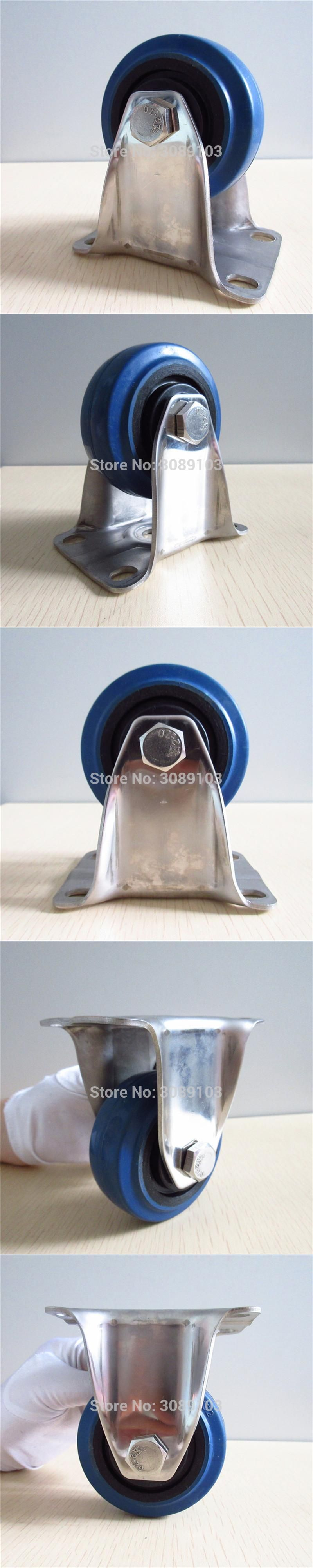 4 pcs 5 Inch rigid caster low noise 304 stainless steel casters with