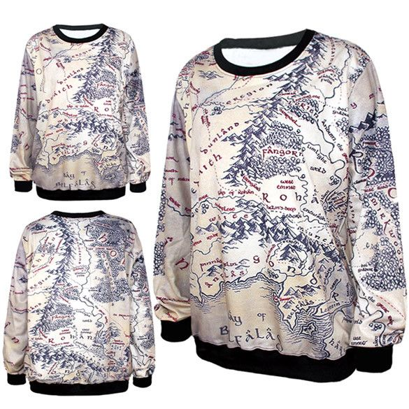 the lord of the rings map sweatshirt quirky tees pinterest