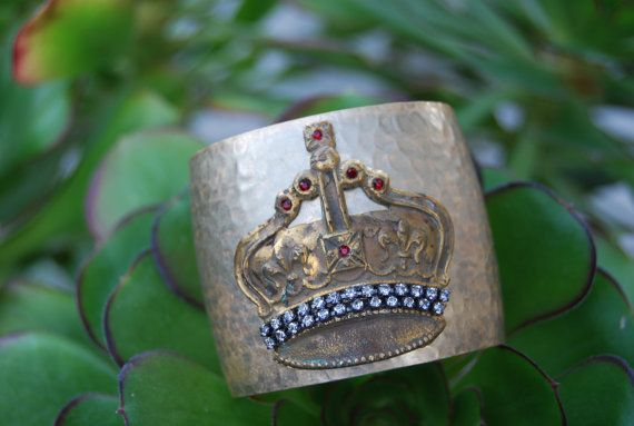 I WANT - Hammered Brass Cuff Bracelet with a Brass Crown by ReligiousJules, $35.00