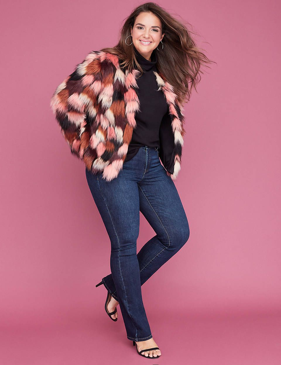 3207bc612fac9 Multi-Color Faux Fur Coat