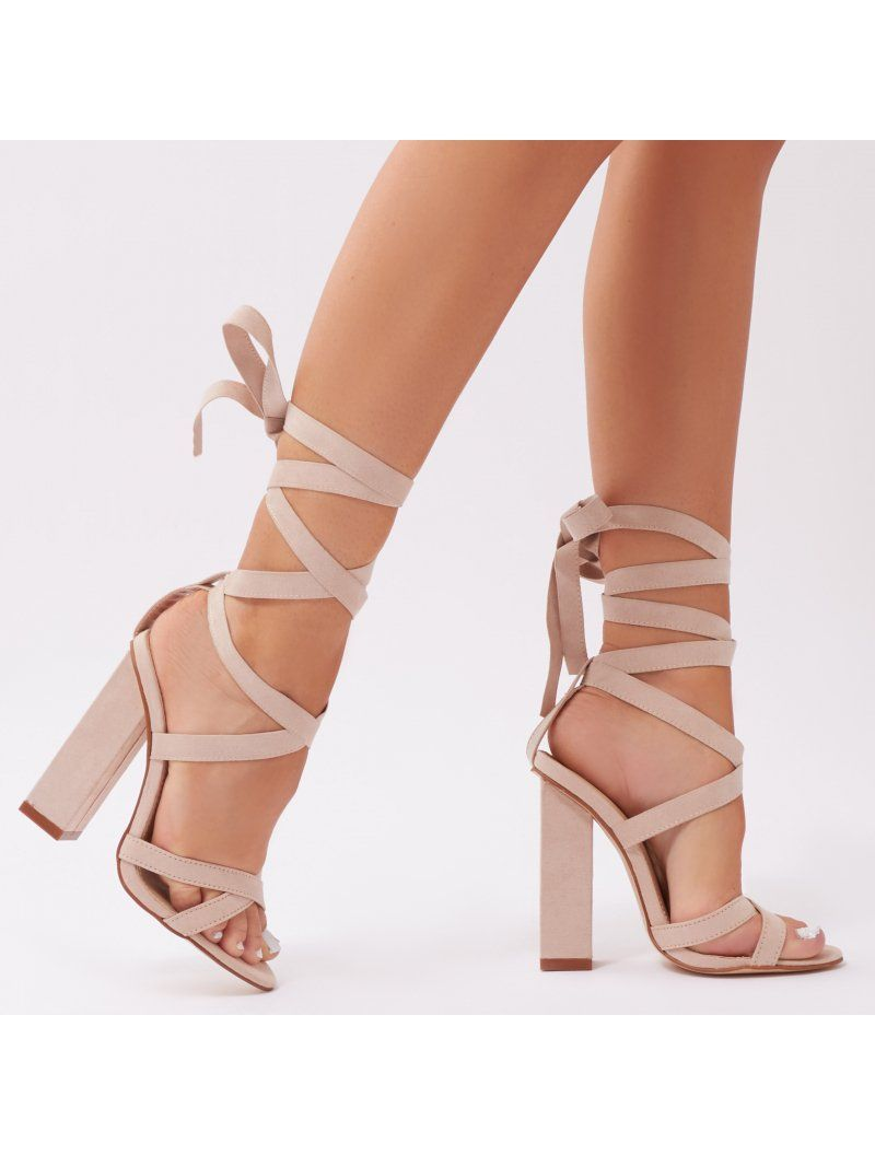 5e0d7dc98eb Vera Lace Up Heels in Nude Faux Suede