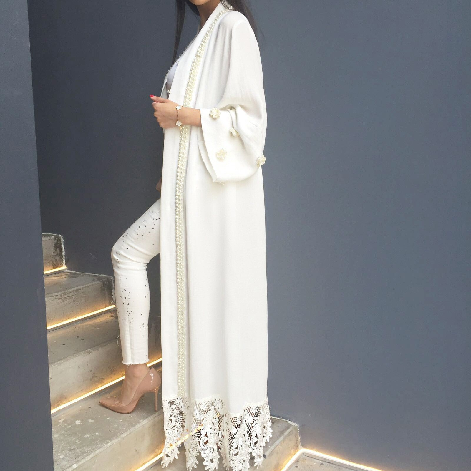Silver pearl marisol white lace 1 - Limited Edition Linen White Abaya With Pearls French Lace