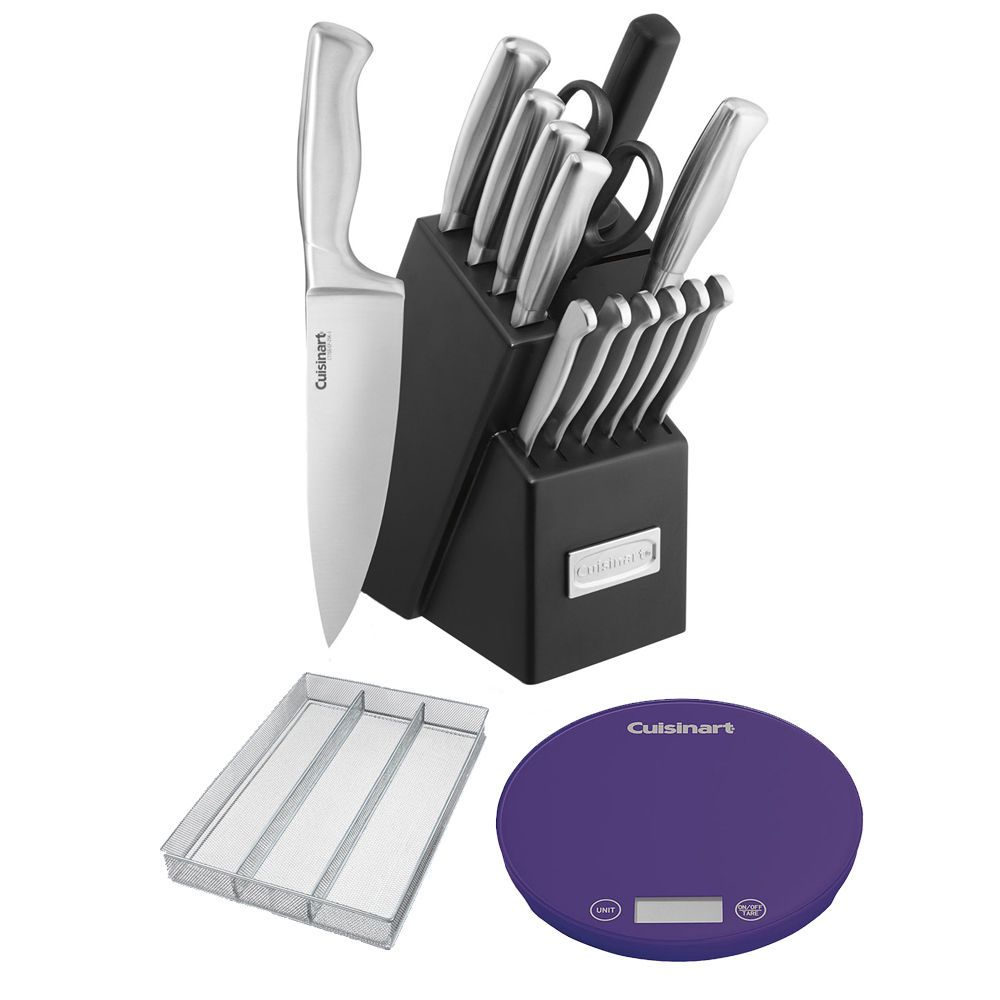 Cuisinart 15pcs Cutlery Knife Set W Utensil Organizer Digital Kitchen Scale For Great Deals Visit Utensil Organization Digital Kitchen Scales Kitchen Scale
