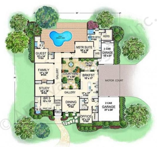 Villa Roberto House Plans Home Plans By Archival Designs Courtyard House Plans Tuscan House Plans Pool House Plans