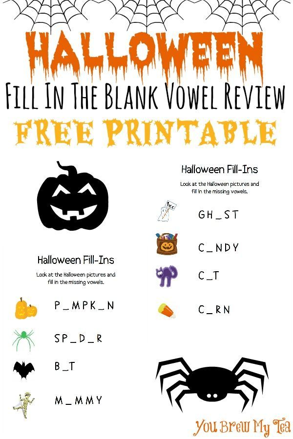 Halloween Fill In The Blank Vowel Review FREE Printable -   Free ...