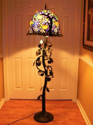 67 pink blossoms and apples tree of life tiffany style stained 67 pink blossoms and apples tree of life tiffany style stained glass floor lamp ebay aloadofball Images