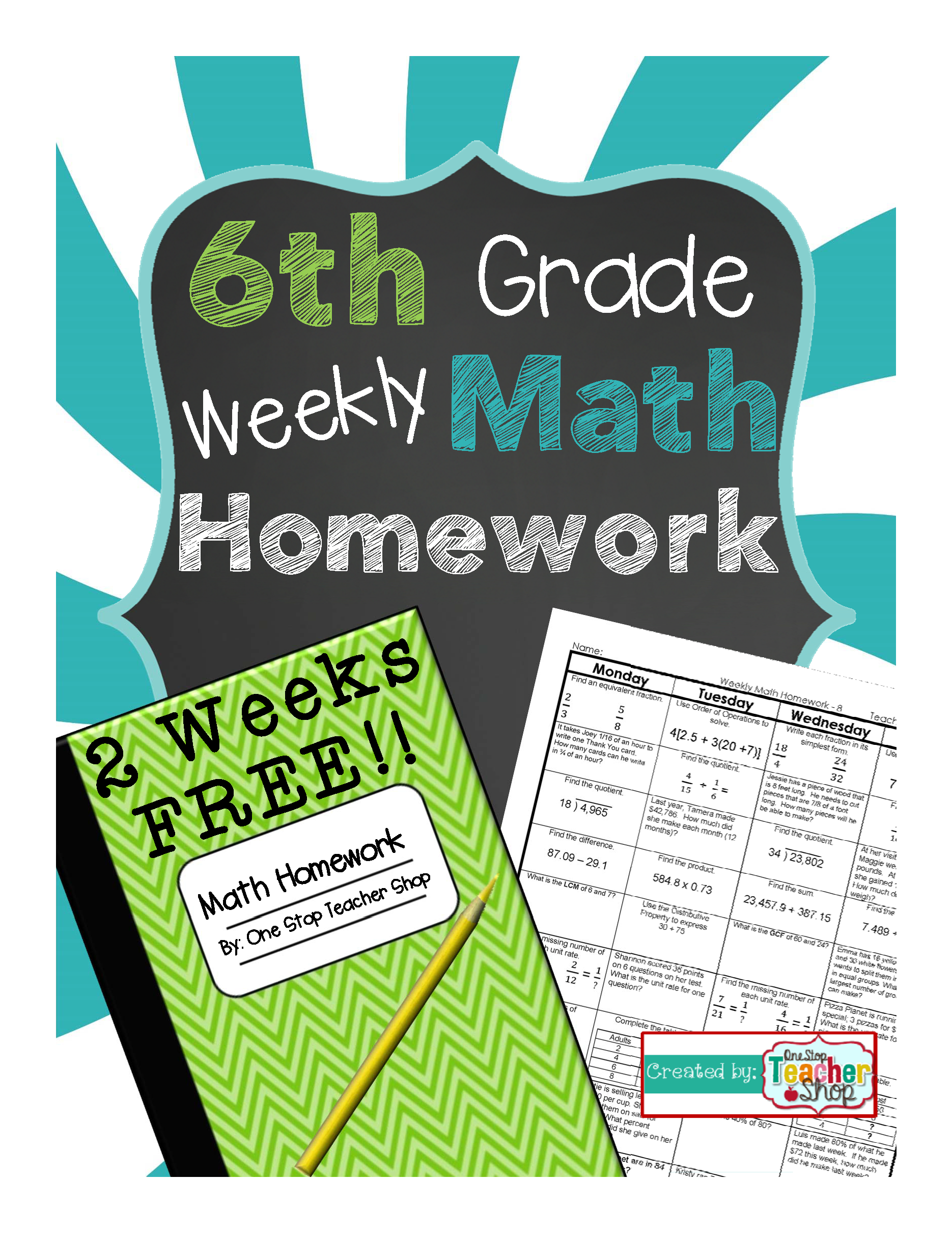 Free 6th Grade Common Core Spiral Math Homework
