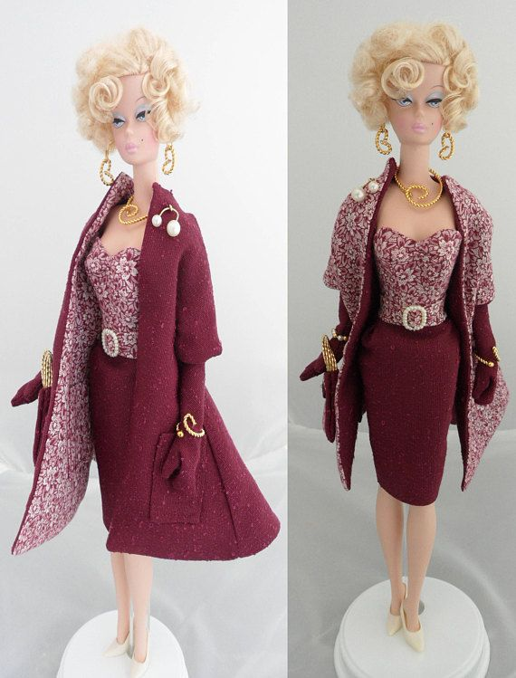Silkstone Barbie Clothes 12 Inch Doll Clothes Burgundy Floral ...
