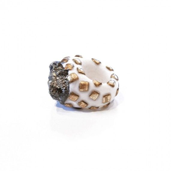 Pyrite Gold Square Ring//