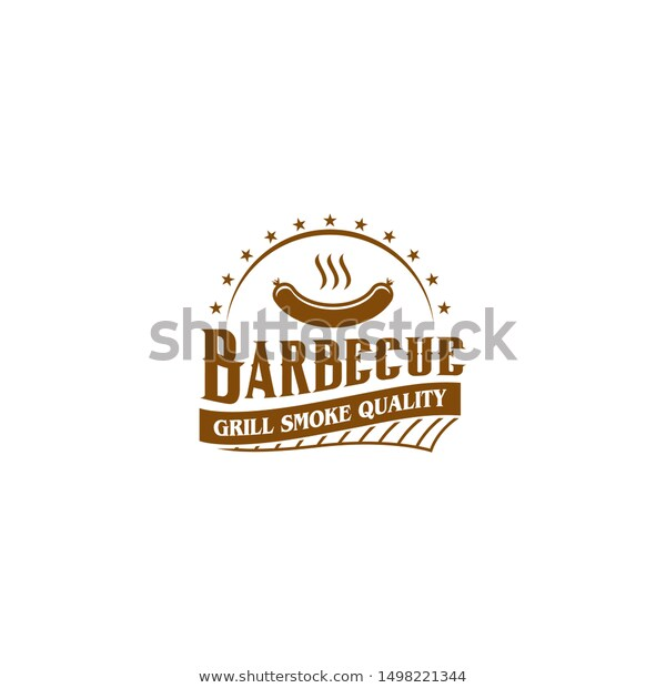 Bbq Grill Barbecue Label Stamp Logo Stock Vector (Royalty