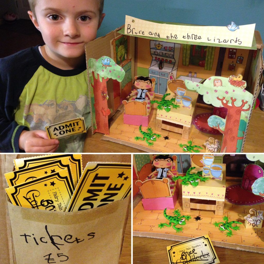 Creating the world of a book in a story box Shoe box