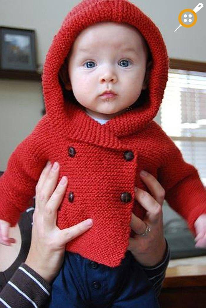 Erkek Bebek Kapşonlu Hırka Modelleri - Kapşonlu Erkek Bebek Hırkaları #strickenundnähen