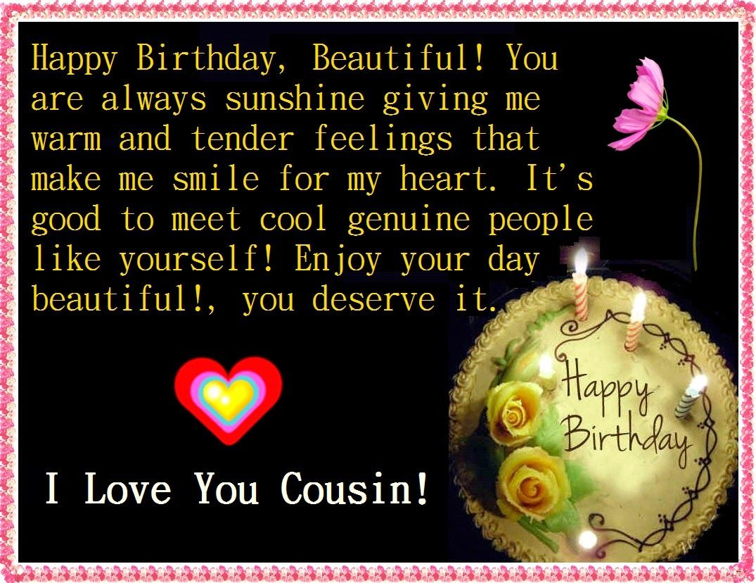 I Love You Cousin Quotes Happybirthdaycousin 1075×828  Birthday Wishes  Pinterest