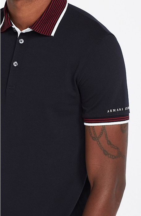 Stripe Collar Polo - Polos - Mens - Armani Exchange  fa393b6eacbaa