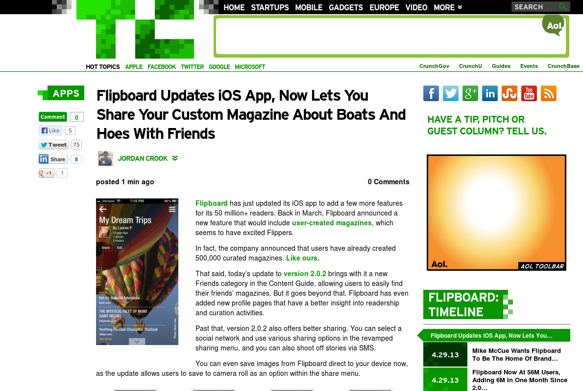 http://techcrunch.com/2013/05/13/flipboard-updates-ios-app-now-lets-you-share-your-custom-magazine-about-boats-and-hoes-with-friends/ ... | #Indiegogo #fundraising http://igg.me/at/tn5/