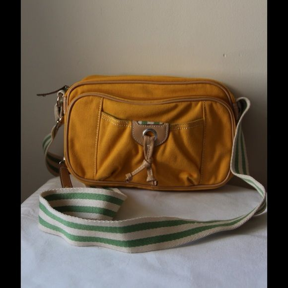 """Colored crossbody bag Mustard colored with green accents crossbody bag - adjustable strap - two zipper compartments - cotton - 10"""" x 6.5"""" x 3"""" - clean inside and out - 21"""" strap drop St. John's Bay Bags Crossbody Bags"""
