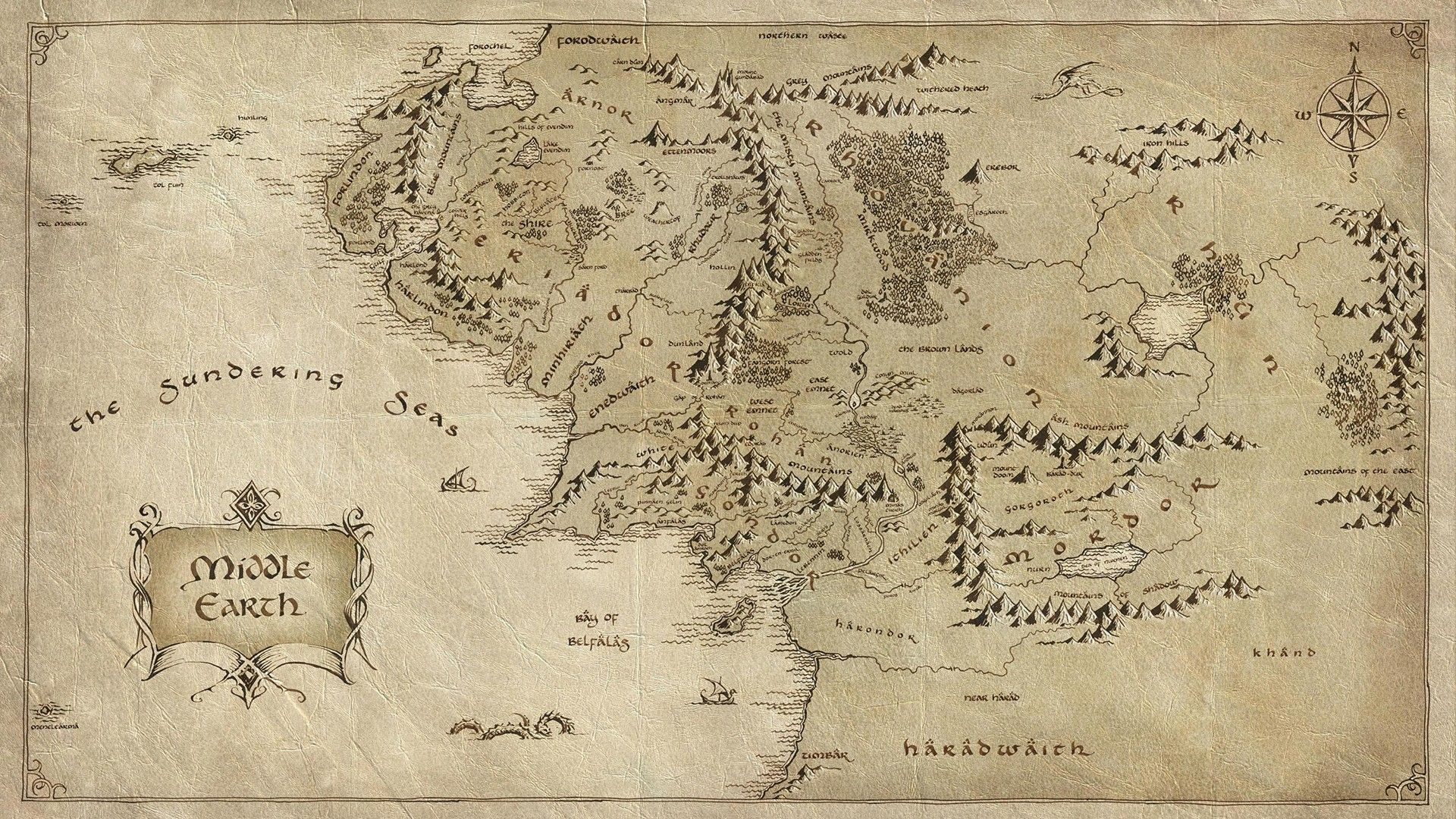 Middle Earth Lord Rings Map Fantasy Movies Hobbit Gallery Karte