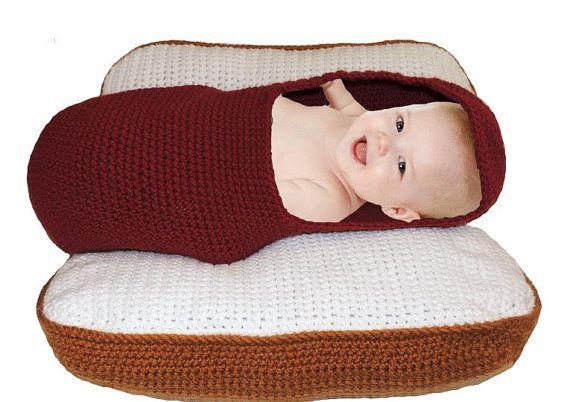New Crochet Hot Dog And Bun Photo Prop Baby Pod Pillow Original
