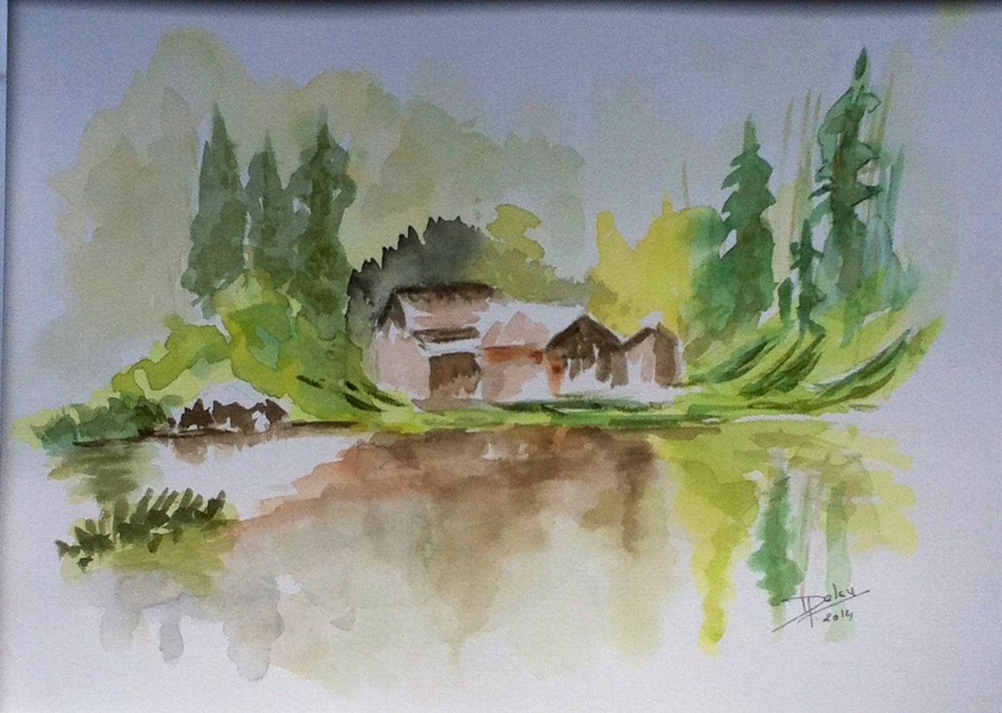 Chalet Dans La Montagne Aquarelle 24x32 Aquarelle Peinture