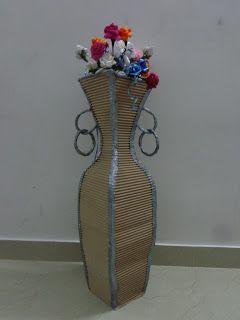 KRITHI DESIGNER BOUTIQUE Cardboard Flower pot making tutorial & KRITHI DESIGNER BOUTIQUE: Cardboard Flower pot making tutorial ...