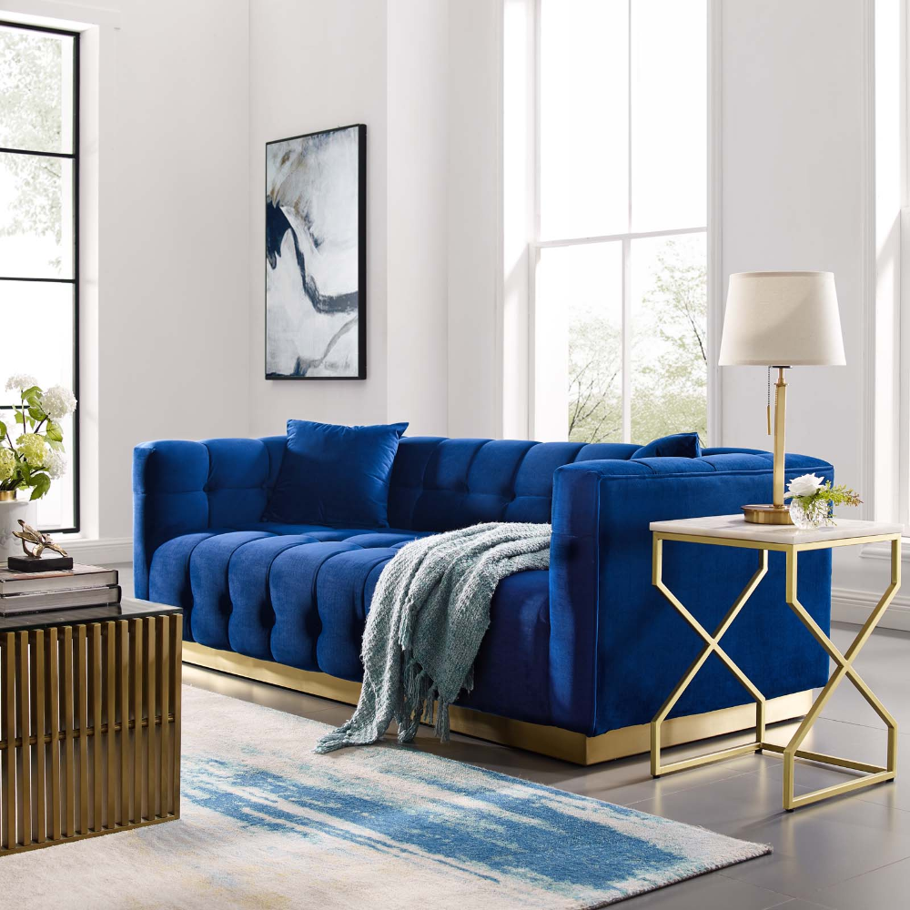 Free 2 Day Shipping Buy Vivacious Biscuit Tufted Performance Velvet Sofa In Navy At W In 2020 Blue Living Room Decor Blue Sofas Living Room Blue Furniture Living Room