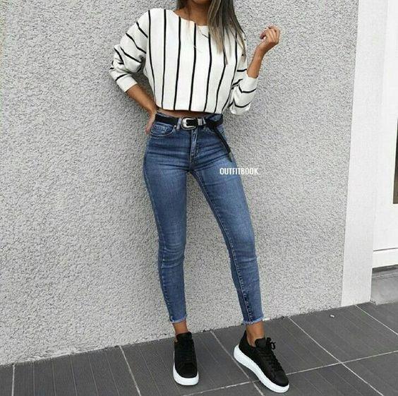 Outfits casuales con jeans y tenis (con imágenes)   Moda de