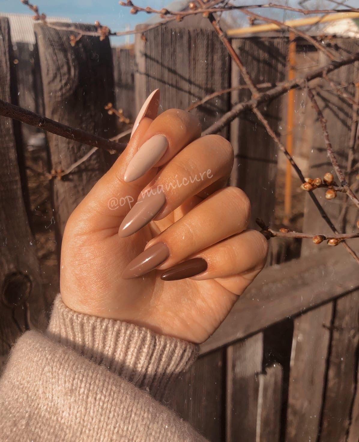 Light Brown Acrylic Nails : light, brown, acrylic, nails, Nails, Design, Beige, Nails,, Brown, Acrylic