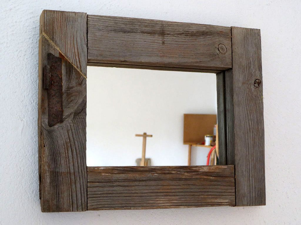 Espejo marco de ventana madera pinterest natural for Espejos redondos de madera