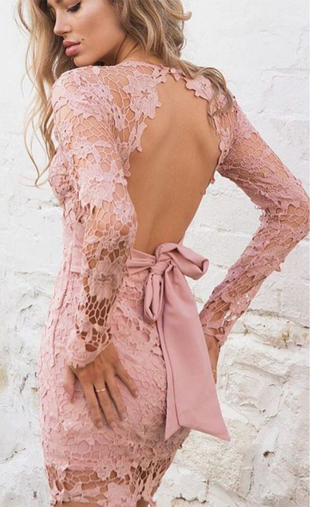 Backless Pink Hollow Out Long Sleeve Club Mini Dresses | Blusas ...
