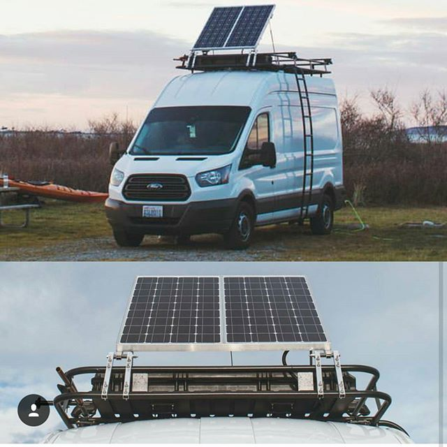 Vannathetransit With A New Solar Set Up Attached To Their Aluminess Roof Rack Aluminess Roofrac Ford Transit Camper Transit Camper Ford Transit Campervan