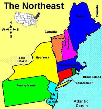 Map Of Northeast Us Globalinterco - Map of states in the northeast us