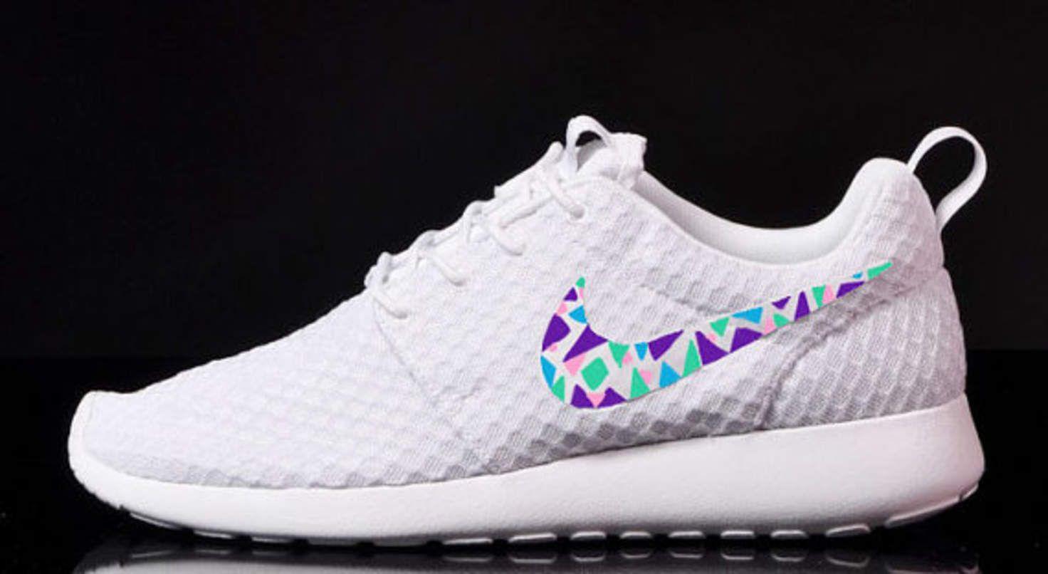 info for 20874 32bd0 ... Womens Custom Nike Roshe Run sneakers, triangles, purple, pink, teal,  ...