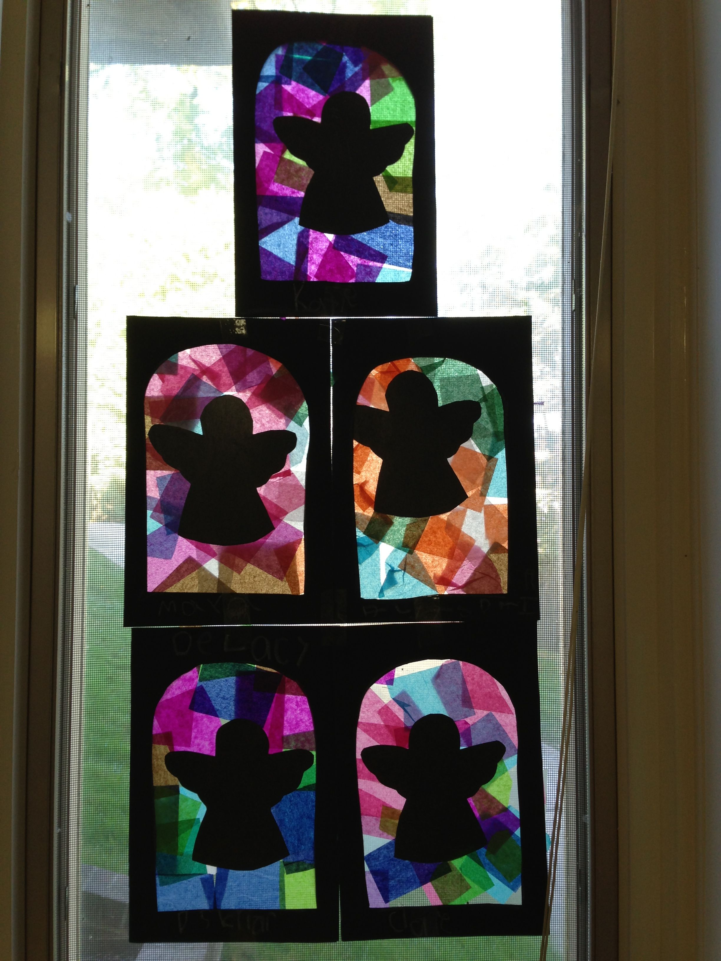 Angels Made A Stained Glass Window Effect By Using Tissue Paper Pieces And Black Construction P Black Construction Paper Silhouette Christmas Angel Silhouette