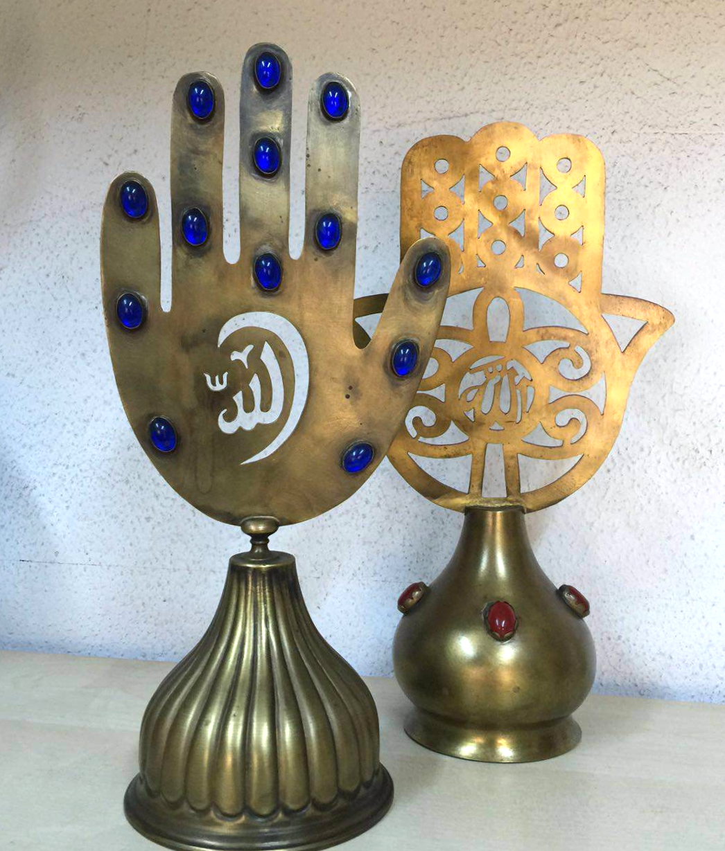 HAND-HAMMERED COPPER HAMSA HAND SET OF TWO