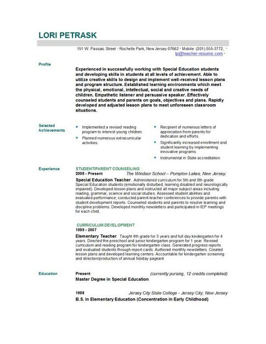 doc sample resume for teacher job free templates covering letter - Sample Special Education Teacher Resume