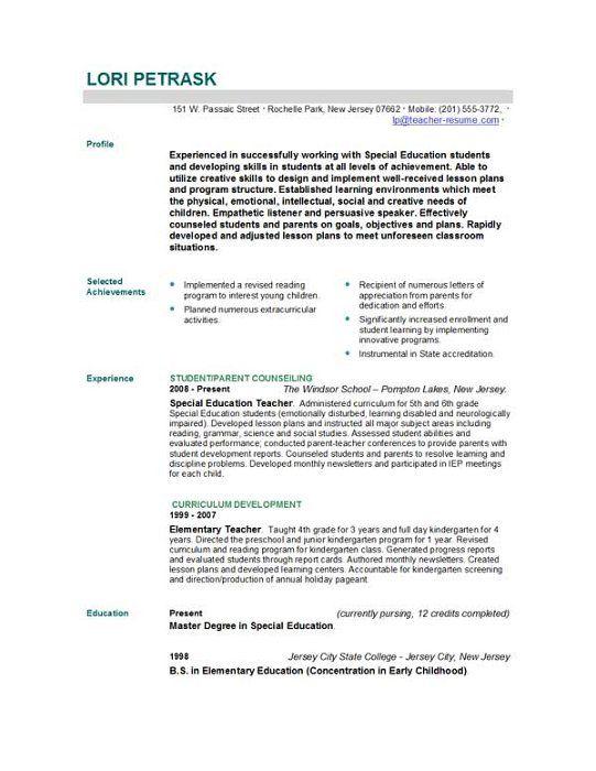 doc sample resume for teacher job free templates covering letter