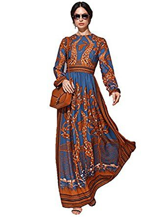 ceae43ca3 Floryday Women's Chiffon Floral Long Sleeve Maxi Casual dress (XS) at Amazon  Women's Clothing store:
